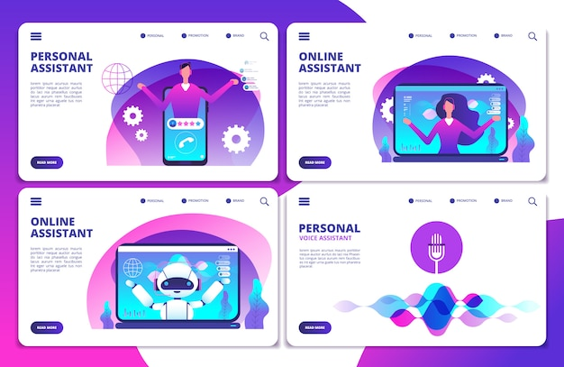 Persönlicher assistent, sprachassistent, zielseiten-set für online-roboterassistenten Premium Vektoren