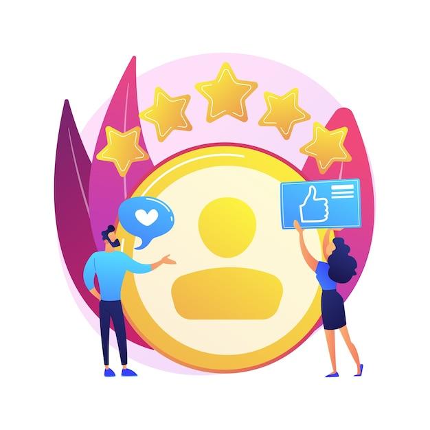 Persönliches konto. positives feedback, nutzerbewertung, loyalitätssterne. dating-website, website-ranking. frau, die webseiten-zeichentrickfigur bewertet Kostenlosen Vektoren