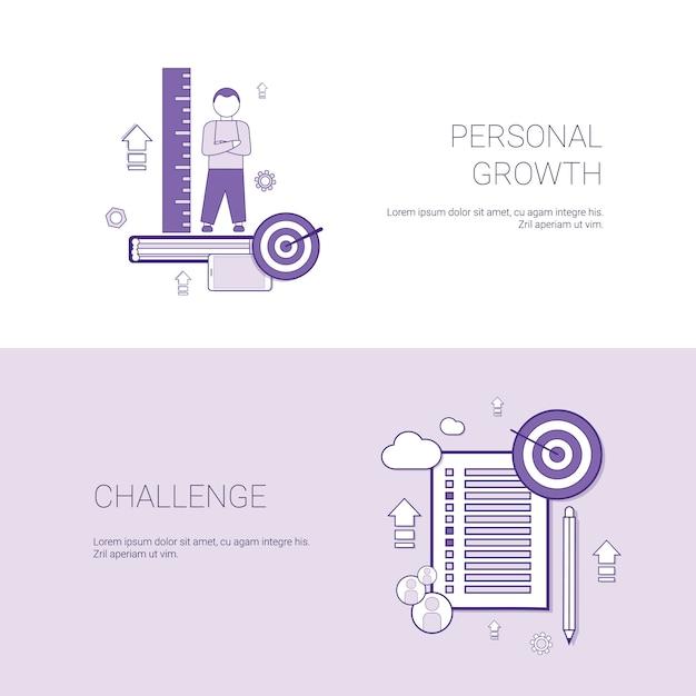 Persönliches wachstum und herausforderung business concept template web banner mit textfreiraum Premium Vektoren