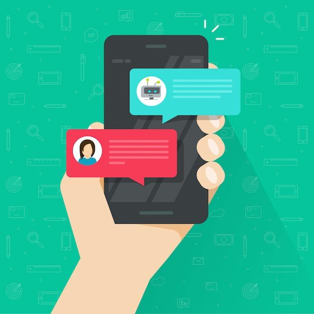 Person, die mit chatbot im handy- oder smartphonevektor in der flachen karikatur plaudert Premium Vektoren