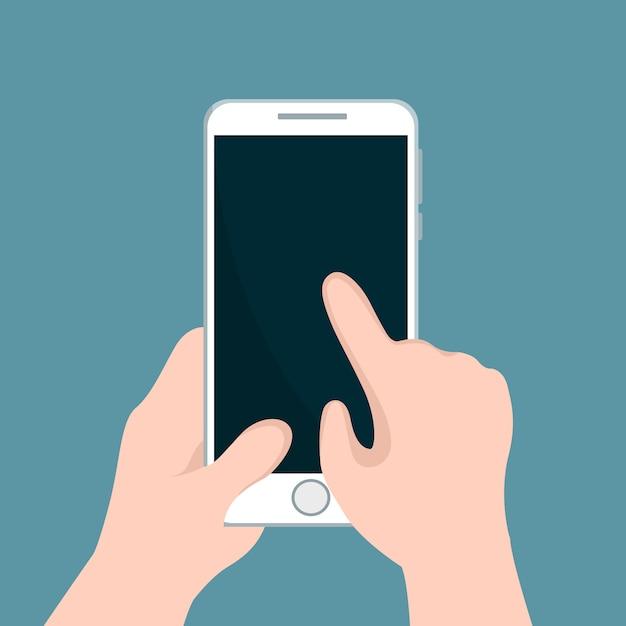 Person, die mobiltelefon hält und mit seiner hand zeigt Premium Vektoren