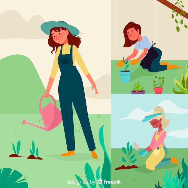 Person, die sich um pflanzen kümmert Kostenlosen Vektoren