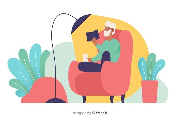 Person, die sich zu hause entspannt und ein buch liest Kostenlosen Vektoren