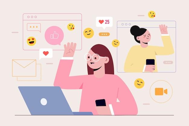 Person, die süchtig nach social media ist Kostenlosen Vektoren