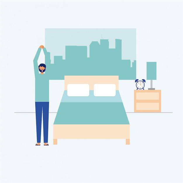 Person, die übung auf seinem schlafzimmer, flache art tut Kostenlosen Vektoren