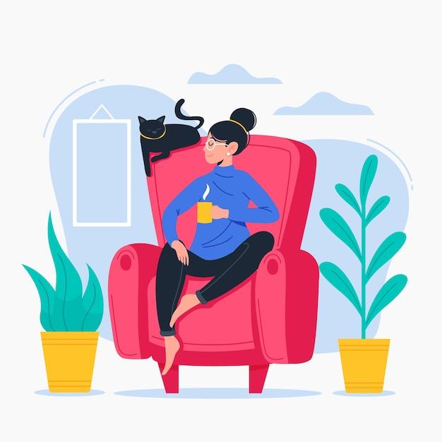 Frau, die sich zu hause im stuhl entspannt | Kostenlose Vektor