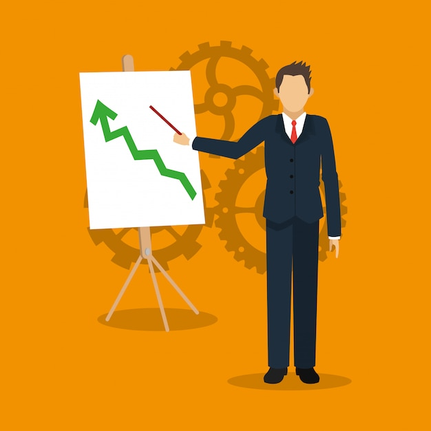 Person in anzug mit business-verwandten ikonen bild Premium Vektoren