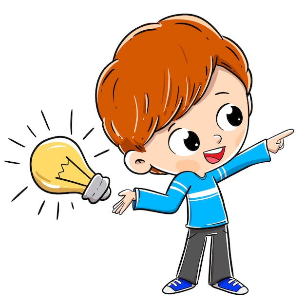 Person mit einer idee mit einer glühlampe Premium Vektoren
