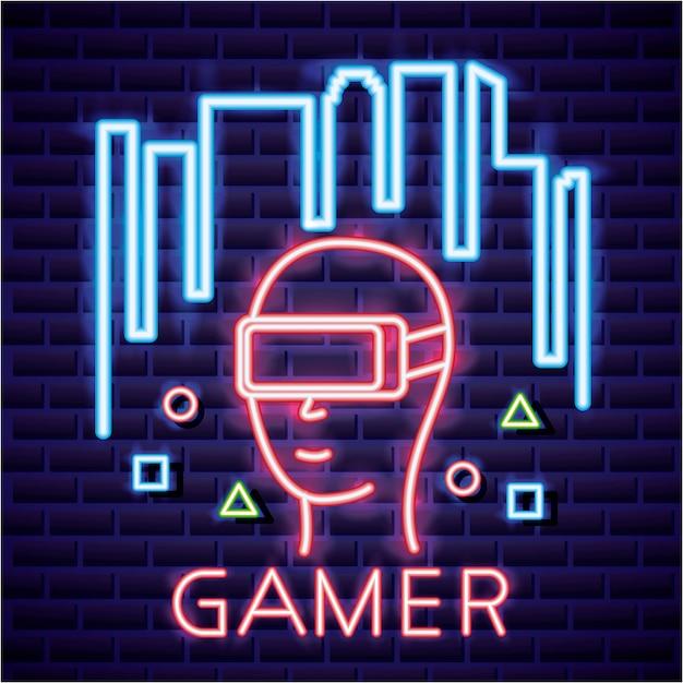 Person mit gläsern der virtuellen realität, lineare neonart des videospiels Kostenlosen Vektoren