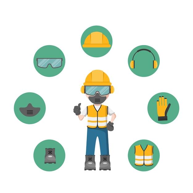 Person mit ihrer persönlichen schutzausrüstung und arbeitsschutzikonen Premium Vektoren