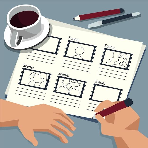 Person mit storyboard und kaffee Kostenlosen Vektoren