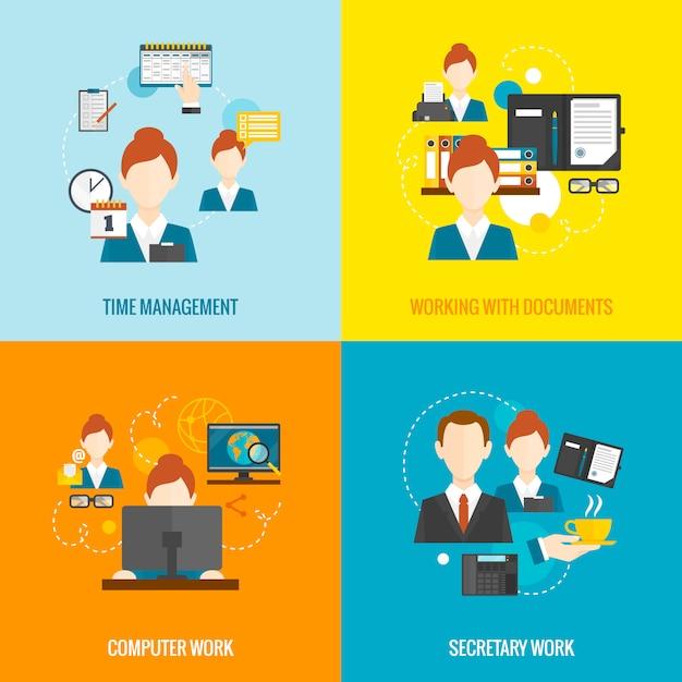 Personal assistant set Kostenlosen Vektoren