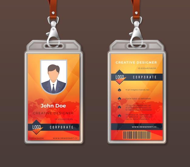 Personalausweis corporate identity. entwurfsvorlage für mitarbeiterzugriffsausweise, layout des büroidentifikationsetiketts. Premium Vektoren