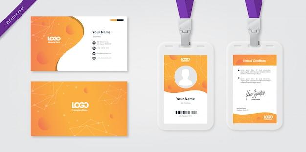 Personalausweisvorlage und visitenkarte orange Premium Vektoren