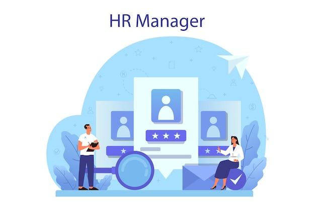 Personalkonzept. idee der rekrutierung und des jobmanagements. teamwork-management. hr manager beruf. flache vektorillustration Premium Vektoren