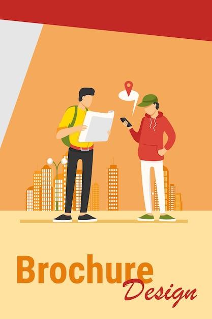 Personen, die papierkarte und standort-app auf dem mobiltelefon verwenden. touristen, die weg in der flachen vektorillustration der stadt finden. navigation, reisekonzept Kostenlosen Vektoren