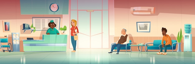 Personen im krankenhausflur, innenraum der klinikhalle mit empfangsdame an der rezeption, Kostenlosen Vektoren