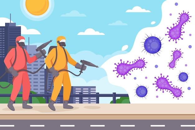Personen im schutz eignen sich zur virusdesinfektion Kostenlosen Vektoren