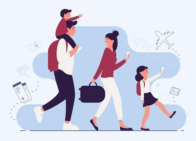 Personenfamilie in flughafen-terminal-illustration Premium Vektoren