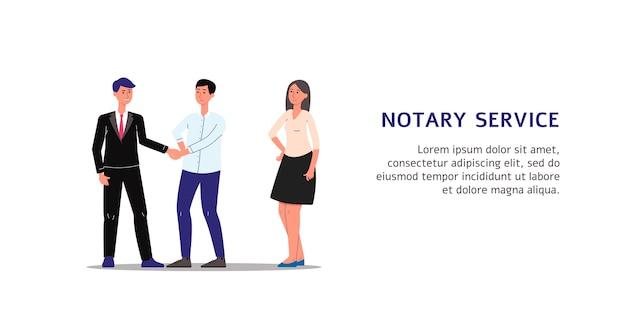 Personenkarikaturfiguren, die dokumente im notariatsdienst ausführen, illustration auf weißem hintergrund. notarielle unterstützung banner vorlage. Premium Vektoren