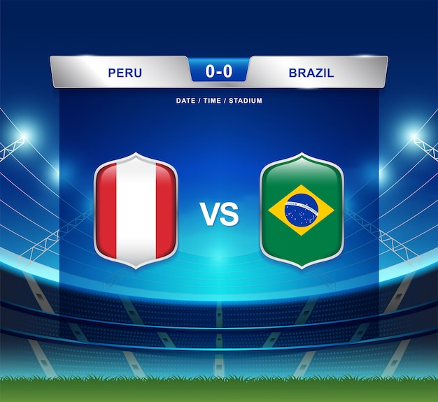 Peru gegen brasilien-anzeigetafelsendungfußball copa america Premium Vektoren