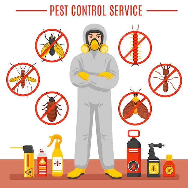 Pest control service illustration Kostenlosen Vektoren