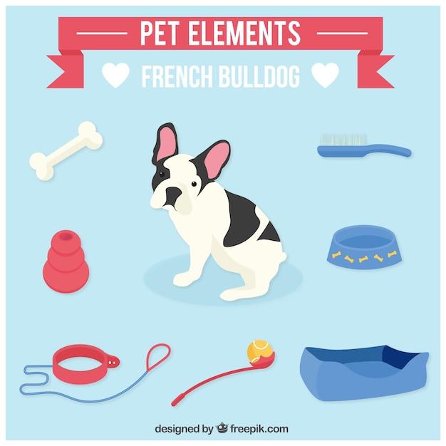 Pet elemente für französisch bulldog Premium Vektoren