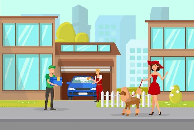 Pet owner und delivery boy vector illustration Premium Vektoren