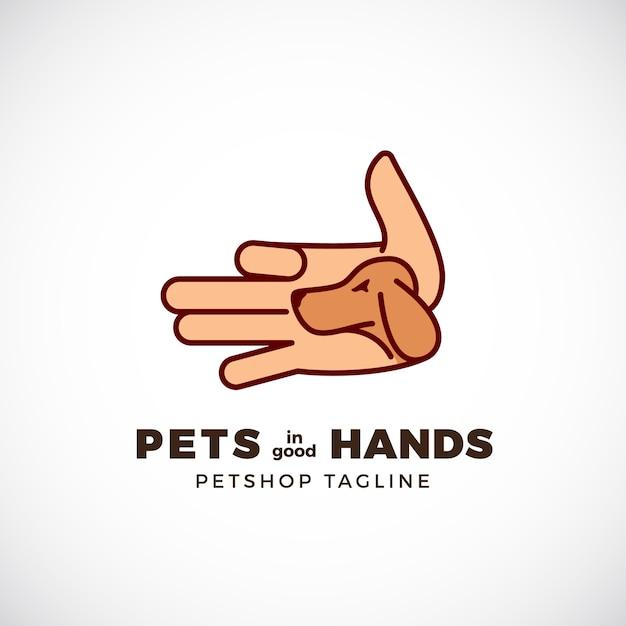 Pet shop emblem oder logo vorlage. line style palm mit einer hundegesichts-silhouette. Premium Vektoren