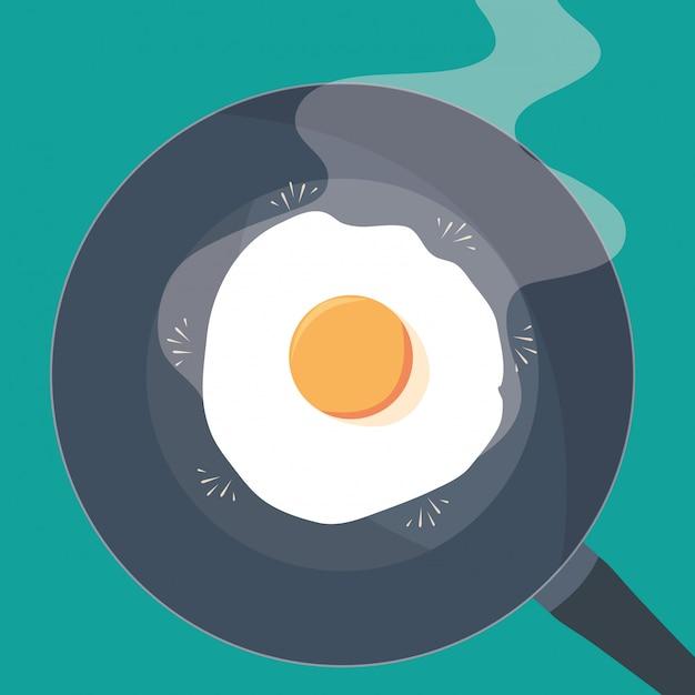 Pfanne der küche mit ei gebraten Premium Vektoren
