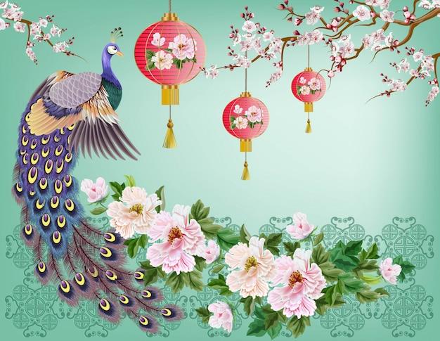 Pfau auf dem niederlassungs-, pflaumenblüten- und kranvogel Premium Vektoren