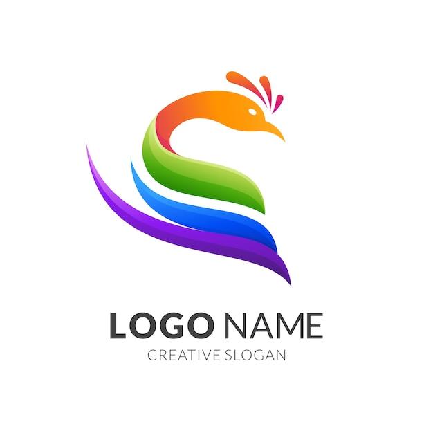 Pfau-logo-konzept, moderner logo-stil in lebendigen farbverlaufsfarben Premium Vektoren