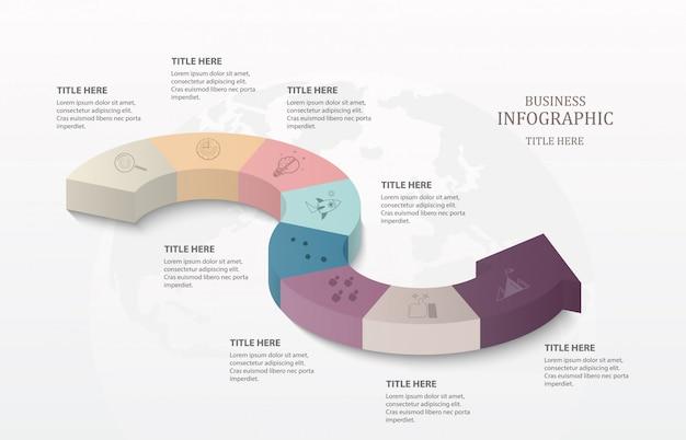 Pfeil 3d-infografiken Premium Vektoren