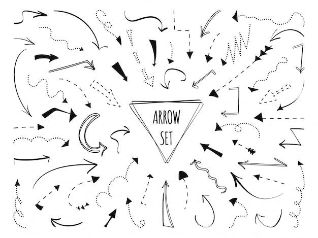 Pfeil hand gezeichneter satz. gepunktete schwarze linie. skizzenpunktkurve kritzeln links rechts unten richtungszeichen Premium Vektoren