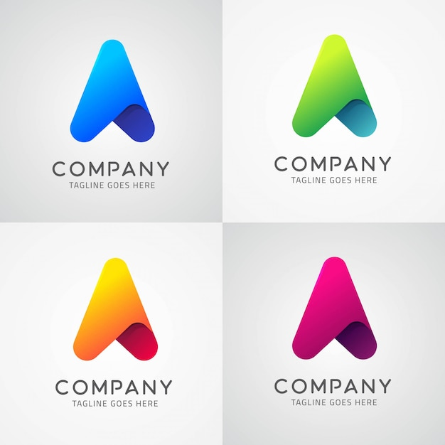 Pfeil-ikone u. buchstabe a symbol logo template design Premium Vektoren