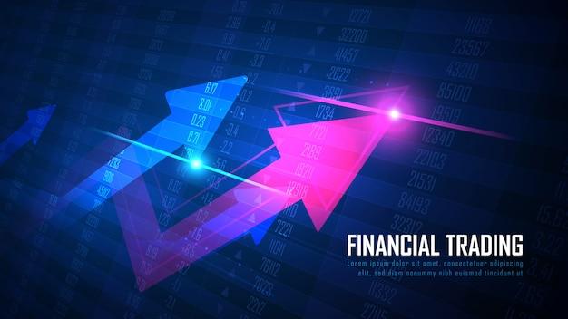 Pfeil nach oben mit aktien- oder forex-nummern-chart-konzept Premium Vektoren