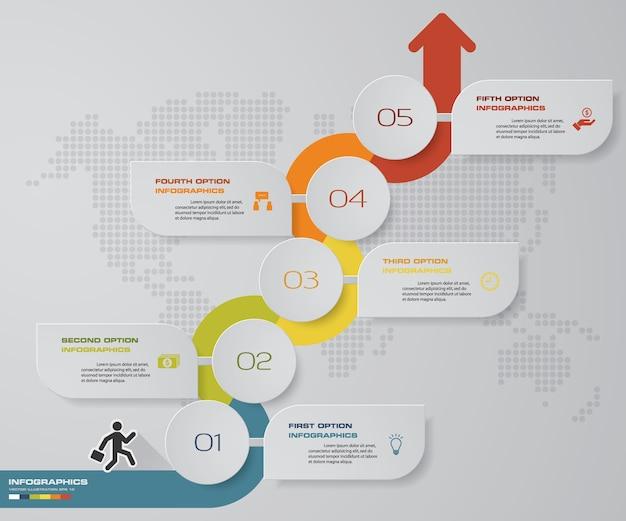Pfeildiagramm mit 5 schritten infographics. eps 10. Premium Vektoren