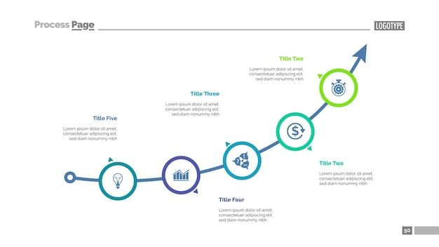 Pfeildiagramm mit fünf elementen vorlage Kostenlosen Vektoren