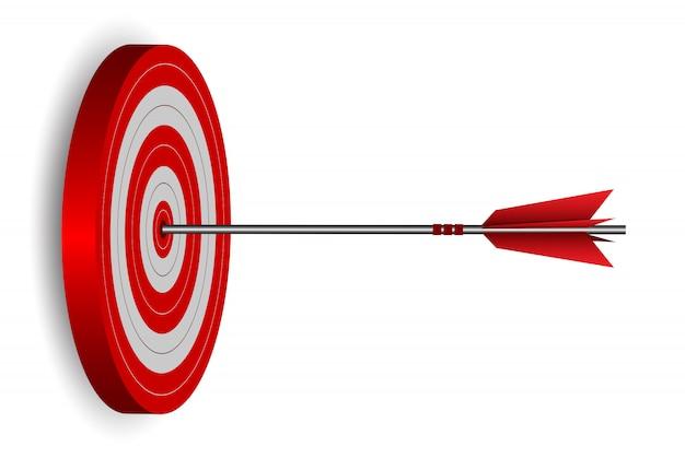 Pfeilpfeile des rotes eine in der zielkreisillustration Premium Vektoren