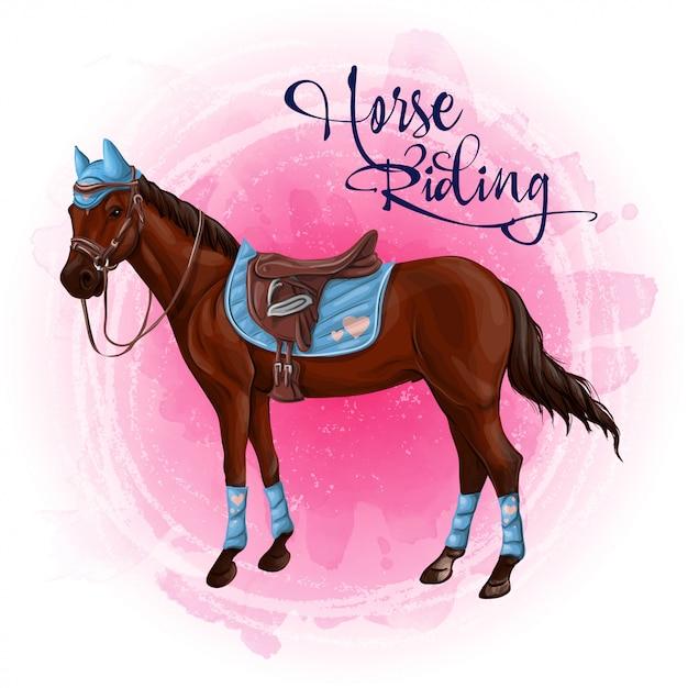 Pferd in der reiterausrüstungsillustration. Premium Vektoren