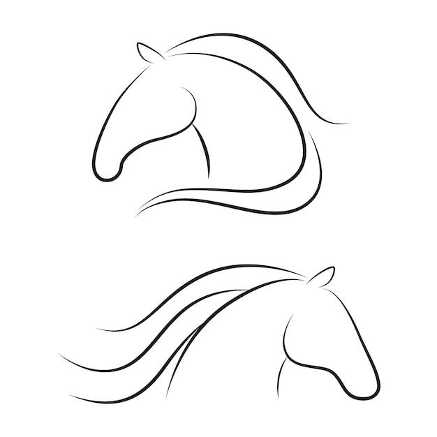 Pferd köpfe konturen Premium Vektoren