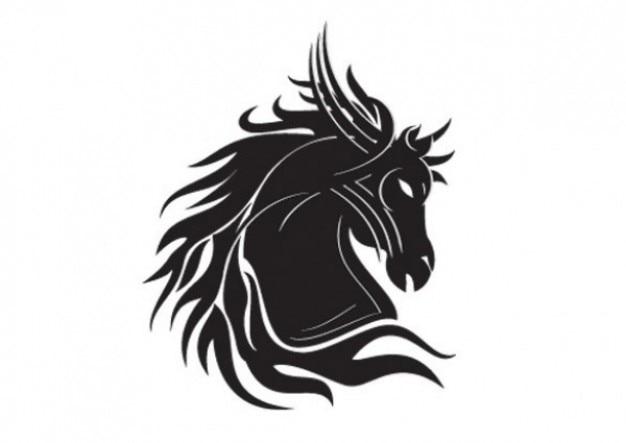 Pferd kopf silhouette tribal tatoo vorlage Kostenlosen Vektoren