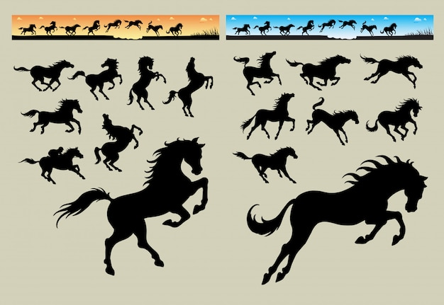 Pferd läuft banner Premium Vektoren
