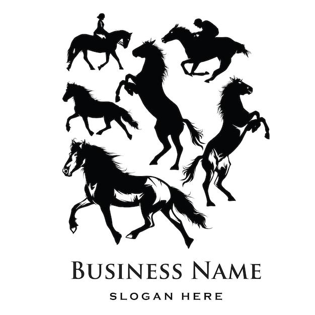 Pferd logo silhouette Premium Vektoren