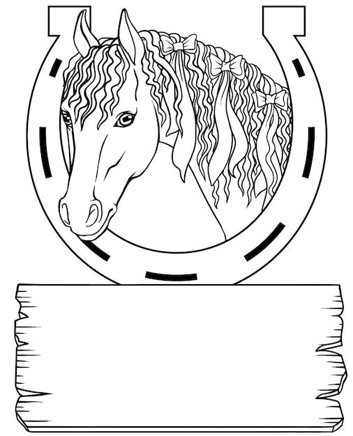 Pferd mit einem hufeisen, schwarzweiss-platte Premium Vektoren