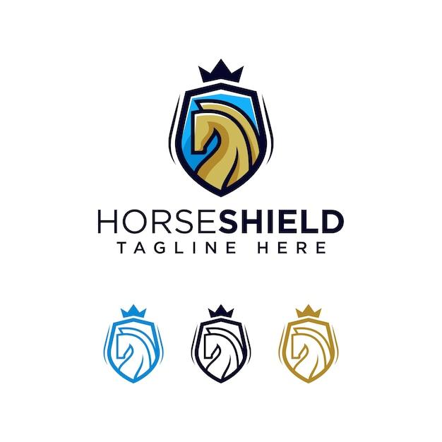 Pferd schild logo vorlage ilustration symbol Premium Vektoren