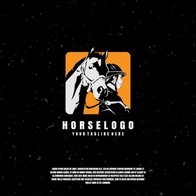 Pferd und jockey illustration logo vorlage Premium Vektoren