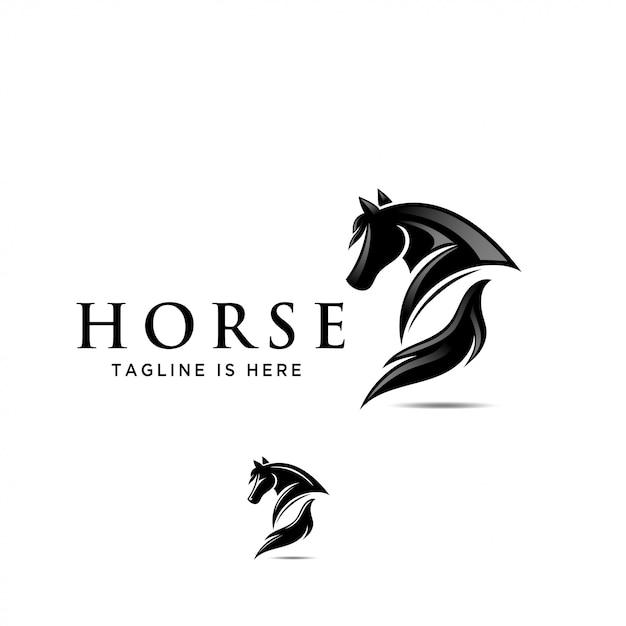 Pferd zurück, esel ansicht rückseite pferd logo Premium Vektoren