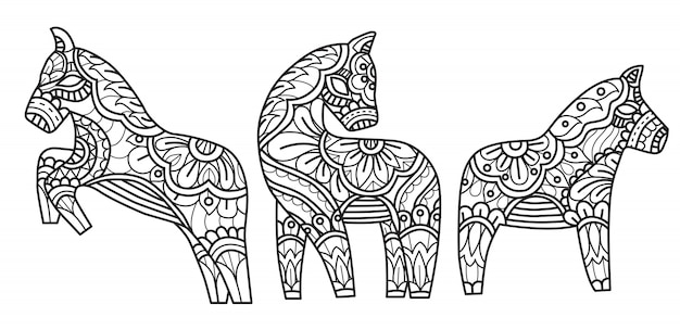 Pferde mit blumen kritzeln die dekoration und färben seite Premium Vektoren