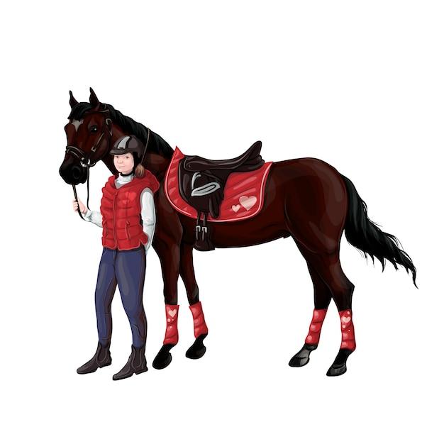 Pferde- und reitermädchenfrau in der munition für das springen Premium Vektoren